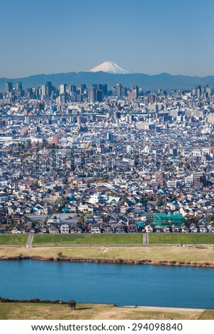 Tokyo city view and Mountain Fuji in background - stock photo