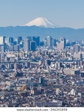 Tokyo city view and Mountain Fuji in background
