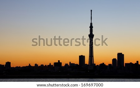 Tokyo city view and tokyo skytree  , sihouette skyline - stock photo