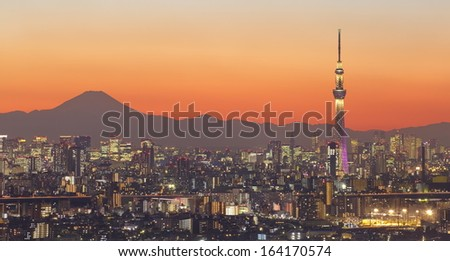 Tokyo city view and  tokyo skytree with Mt Fuji  - stock photo