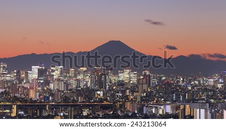 Tokyo city view at night with Mountain Fuji in background - stock photo