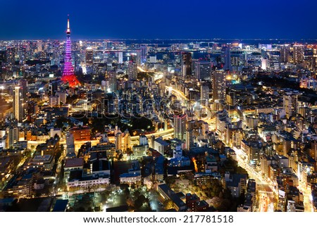 Tokyo city view visible on the horizon - stock photo