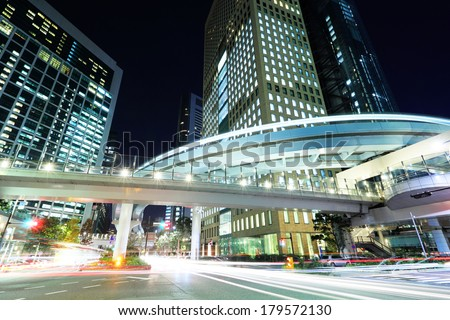 Tokyo city with car light - stock photo