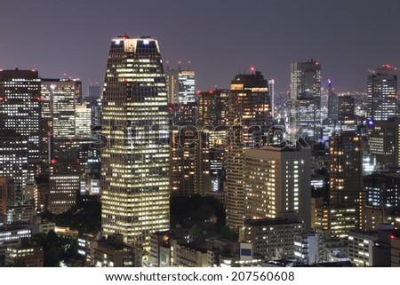 Tokyo cityscape at night of Japan - stock photo