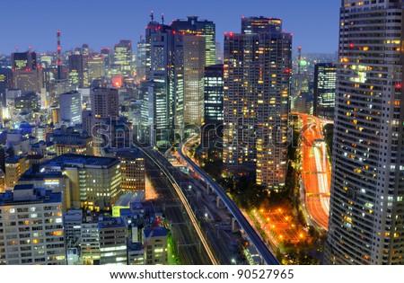 Tokyo cityscape in Minato Ward in Japan - stock photo
