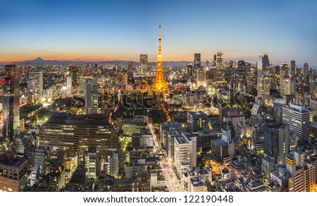 TOKYO - DEC 16: With over 35 million people, Tokyo is the world's most populous metropolis and is described as one of the three command centers for world economy December 16, 2012 in Tokyo, Japan - stock photo