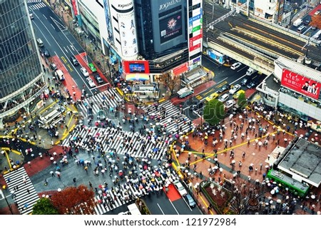 TOKYO - DECEMBER 15: Shibuya Crossing December 15, 2012 in Tokyo, JP. The crossing is one of the world's most well known examples of a scramble crosswalk. - stock photo