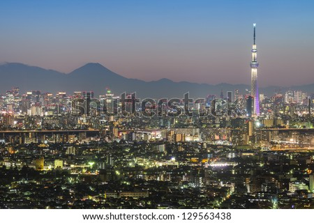 TOKYO - FEB.17: With over 35 million people, Tokyo is the world's most populous metropolis and is described as one of the three command centers for world economy February 17, 2013 in Tokyo, Japan - stock photo