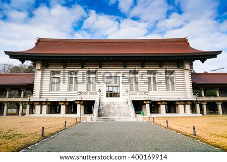 TOKYO - JAN 4: Meiji's shrine pictured on January 4th, 2016, in Tokyo. It is the Shinto shrine, dedicated to the deified spirits of Emperor Meiji, the 122nd Emperor of Japan and his wife. - stock photo