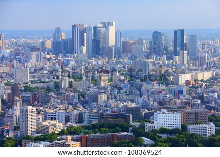 Tokyo, Japan - aerial view of Shinjuku district. Modern city skyline.
