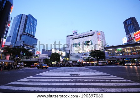 Tokyo, Japan - April 24, 2014 : People waiting for crossing a street at Shibuya intersection.  - stock photo