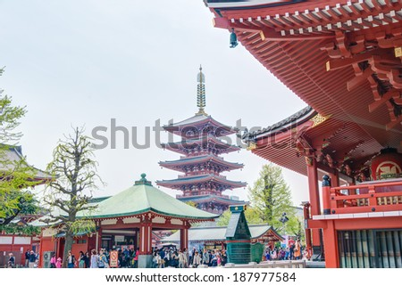 TOKYO, JAPAN - APRIL 16 2014: Senso-ji Temple, Tokyo, Japan.The Senso-ji Buddhist Temple is the symbol of Asakusa and one of the most famous temples in all of Japan.