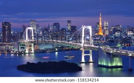 Tokyo, Japan at Rainbow Bridge and Tokyo Bay. - stock photo