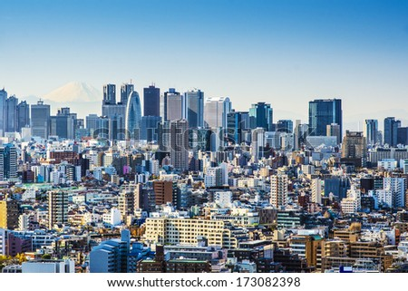 Tokyo, Japan at Shinjuku with Fuji Mountain on the horizon.