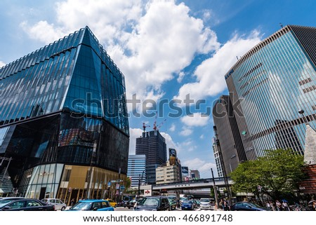 TOKYO, JAPAN - August 10 , 2016 : Cityscape at Tokyo Ginza District. Ginza is recognized by many as one of the most luxurious shopping districts in the world.