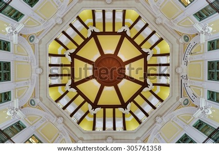 TOKYO, JAPAN -8 AUGUST 2015- Located in the Marunouchi area, the Tokyo station, which celebrated its 100th anniversary in December 2014, is the main intercity railway station in Japan.  - stock photo