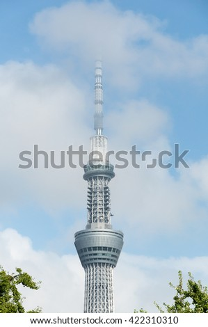 Tokyo, Japan - August 13, 2015: The landmark view of Tokyo Skytree Tower from Senso-ji temple. It is a broadcasting, communications, restaurant, and observation tower in Sumida, Tokyo, Japan.