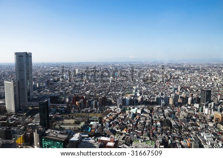Tokyo, Japan, bird's eye view. - stock photo