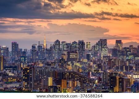 Tokyo, Japan city skyline at dusk. - stock photo