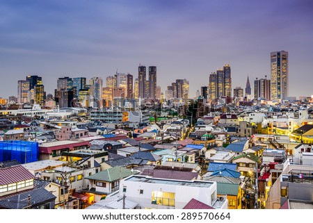 Tokyo, Japan city skyline at the West Shinjuku skyscraper district over residential areas. - stock photo