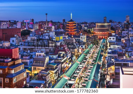 Tokyo, Japan cityscape in the Asakusa district over Senso-ji Temple. - stock photo