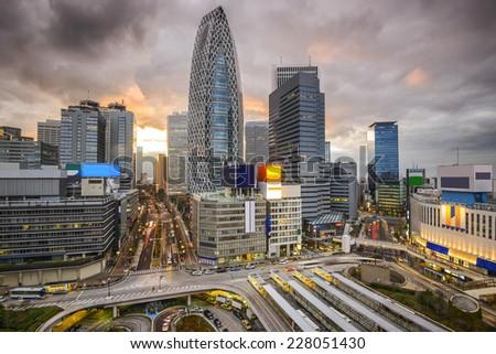 Tokyo, Japan cityscape of the Nishi-Shinhjuku business district. - stock photo