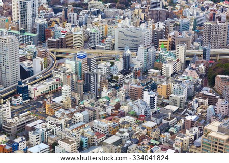 TOKYO, JAPAN, DEC 31: Aerial view of Tokyo with buildings and highways taken from the Tokyo Tower. Tokyo. Japan 2012