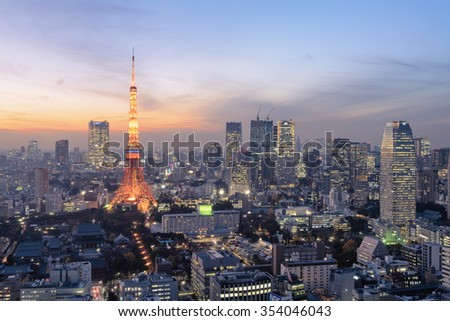 Tokyo, Japan - Dec 12, 2015: Night view of Tokyo Skylines.Tokyo  is both the capital and largest city of Japan. The Greater Tokyo Area is the most populous metropolitan area in the world