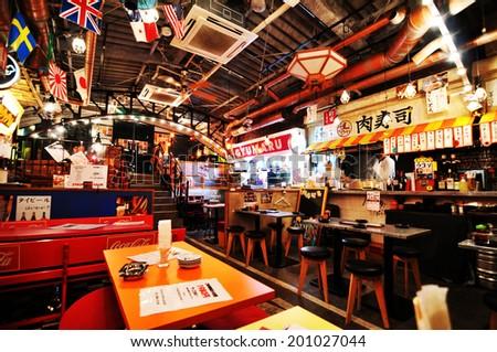 TOKYO, JAPAN - DECEMBER 28, 2011: Interior of Japanese restaurant in central Tokyo - stock photo