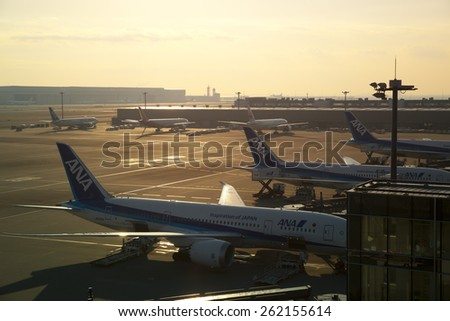TOKYO,JAPAN - FEBRUARY 13,2015 : Tokyo Haneda International Airport is one of the two primary airports that serve the Greater Tokyo Area on February 13,2015.