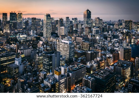 TOKYO, JAPAN - JANUARY 8: evening over Minato-ku district as it seen from the observatory of WTC building, located in Tokyo, Japan on January 8, 2016.