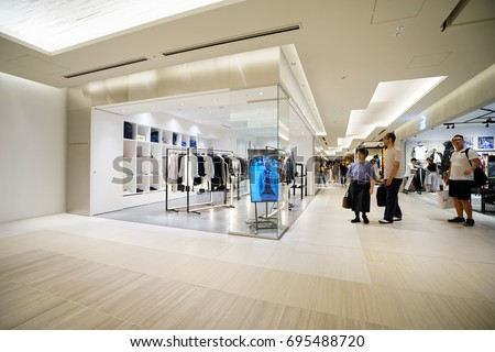 TOKYO, JAPAN - JUL 21TH 2017.Luxury shopping mall interior. Multi luxury brand inside in ginza, Tokyo.