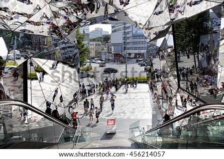 TOKYO JAPAN - JUNE 1,2016 :Entrance of Plaza building, Tokyu Plaza Omohara is a fashion theme park department store for the trendiest fashion located in Harajuku Area