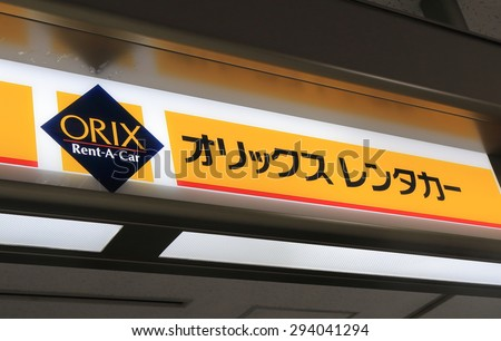 TOKYO JAPAN - JUNE 19, 2015: Orix rent a car Japan. Orix is one of major car hire companies in Japan.