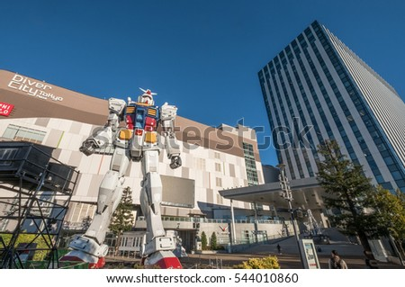 TOKYO, JAPAN l 26 DECEMBER 2016. The real size model of Gundam robot in Odaiba City, Tokyo. Gundam is a popular cultural icon of Japan. This Gundam model is scheduled to be torn down in March 2017.