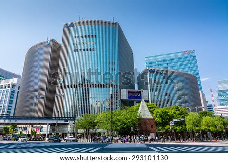 TOKYO,JAPAN - 10 May 2015 : A new branch of shopping complex operator Lumine Co. opened in Tokyo's Ginza shopping district, where a number of major department stores vie with one another.