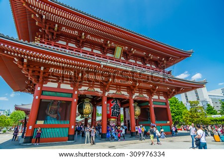 TOKYO,JAPAN - 8 May 2015 :Asakusa's main attraction is Sensoji, a very popular Buddhist temple, built in the 7th century.