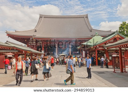 TOKYO, JAPAN - MAY 25, 2015: Hondo (Main hall) of Senso-ji Temple in Tokyo, Japan. The oldest temple in Tokyo, was founded in 645