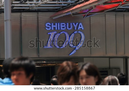 TOKYO JAPAN - MAY 8, 2015: Iconic Shibuya 109 department store. Shibuya is known as one of the fashion centers of Japan, particularly for young people, and as a major nightlife area.