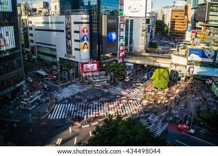 Tokyo, Japan - May 13, 2016 - long exposed Shibuya Crossing from above - stock photo