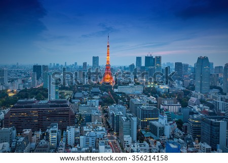 Tokyo, Japan - Nov 22, 2015: Night view of Tokyo Skylines.Tokyo is both the capital and largest city of Japan. The Greater Tokyo Area is the most populous metropolitan area in the world