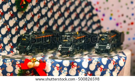 TOKYO, JAPAN - NOVEMBER 28 2015: Decorations in a small display in front of a shopping mall in Ginza district