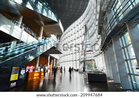 Tokyo, Japan - November 23, 2013 : Interior of National Art Center in Tokyo, Japan on November 23, 2013 . The museum has an exhibition, concentrating on 20th-century painting and modern arts - stock photo