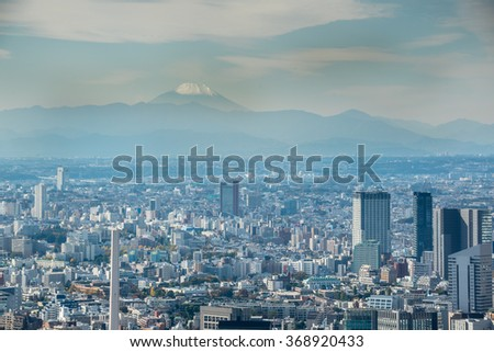 Tokyo, Japan - November 21, 2015:View of Tokyo city view from Mori Tower in the Kanto region and Tokyo prefecture, Japan, the first largest metropolitan area in Japan.
