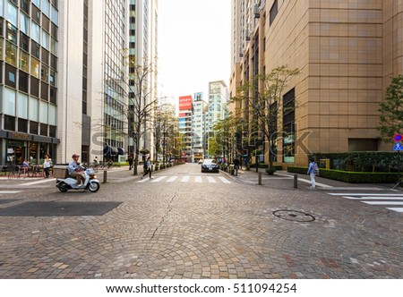 Tokyo, Japan - October 18, 2016: Cityscape of Tokyo Ginza District. Ginza is one of the most luxurious shopping districts in the world., selective focus