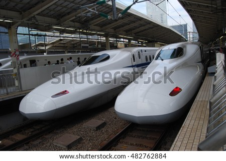Tokyo, Japan - October 27, 2014 - Shinkansen is the high-speed train in Japan, one of the fastest in the world