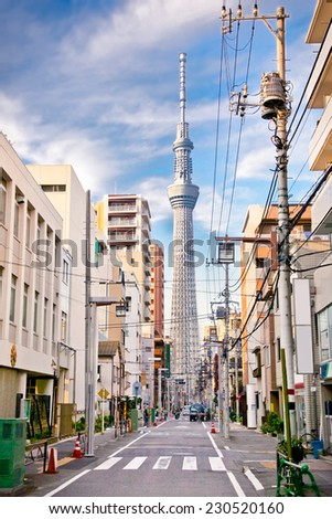 TOKYO, jAPAN-OCTOBER 27, 2014: Tokyo Sky Tree (634m),  the highest free-standing structure in Japan and 2nd in the world with over 10million visitors each year in Tokyo,  Japan.  - stock photo