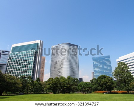 TOKYO, JAPAN - SEP 28: Shiodome Shiosite business district in Tokyo, Japan on September 28, 2015. Tokyo is both the capital and largest city of Japan.