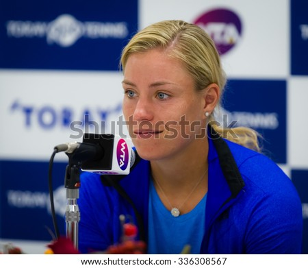 TOKYO, JAPAN - SEPTEMBER 22 :  Angelique Kerber talks to the media at the 2015 Toray Pan Pacific Open WTA Premier tennis tournament