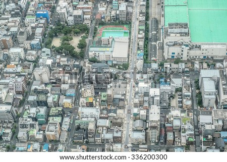 Tokyo, Japan - September 24: Cityview of Tokyo, Japan on September 24 2015. Tokyo is the most populous metropolitan area in the world, the capital and the largest city of Japan. - stock photo